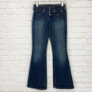 Silver Jeans Button Fly Flare Patch Pocket Jeans
